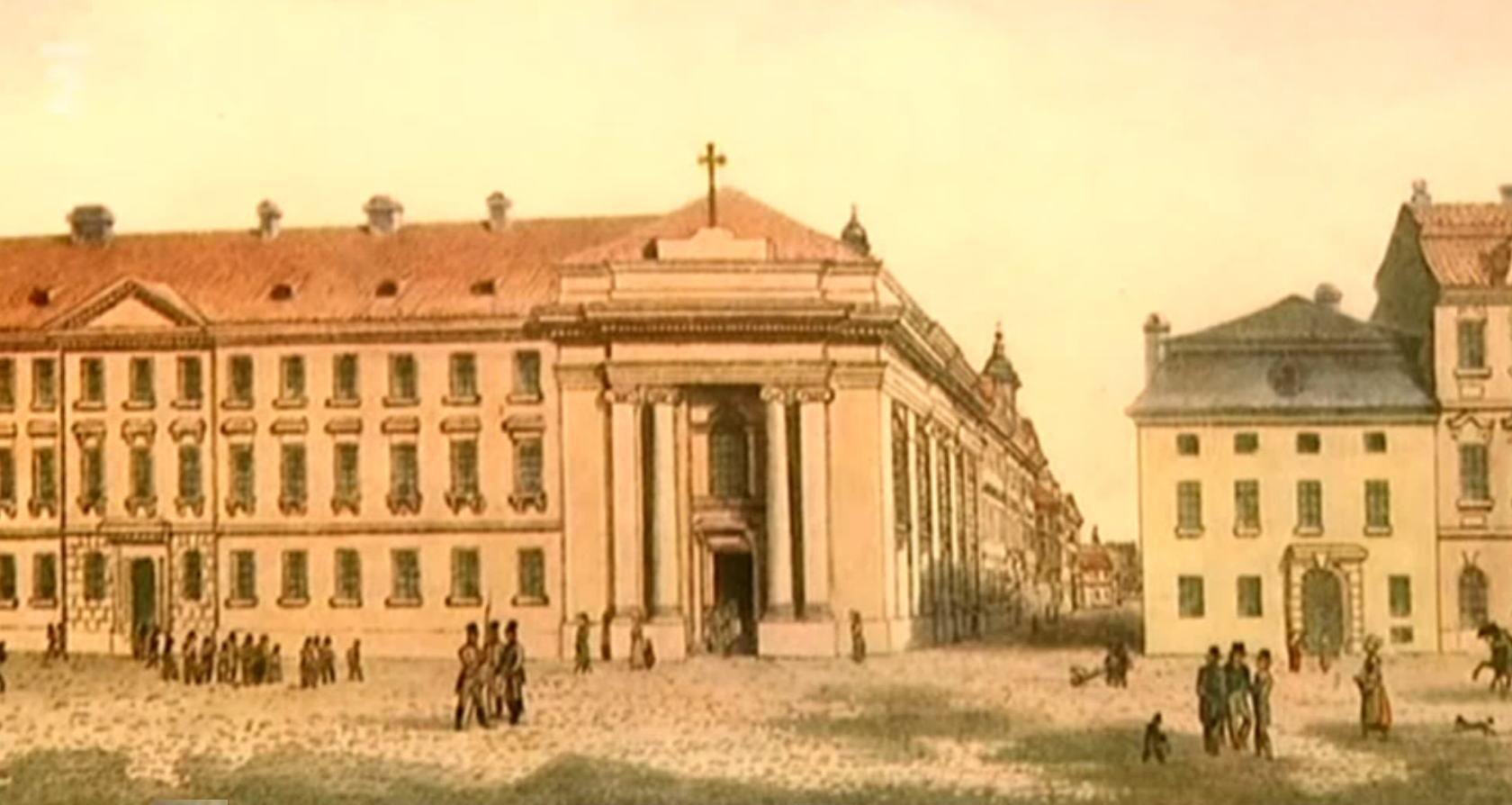 Pohled na Kostel Svatého kříže (ulice Panská a Na příkopě